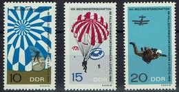 DDR 1966 - MiNr 1193-1195 - Fallschirmspringen, Leipzig - Parachutting