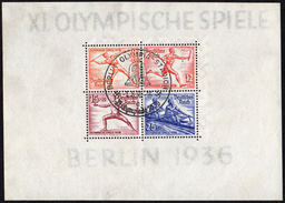 GERMANY BERLIN OLYMPIC STADION 1/8/36 - OLYMPIC GAMES BERLIN 1936 - SOUVENIR SHEET - FENCING / ROWING / ATHLETICS