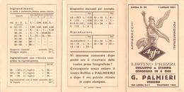 """05862 """"AGFA - LISTINO PREZZI 1931 - G. PALMIERI - VERONA""""   PUBBLICITARIO - Pubblicitari"""