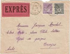 LCTN47/1 -  ARC 5fr+2fr50 SUR LETTRE ARCY SUR CURE / TROYES OCTOBRE 1944 - 1944-45 Arco Del Triunfo