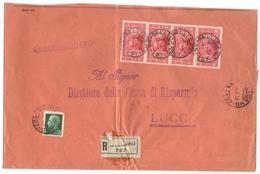 1932 - Raccomandata Da Gallicano (LU) A Lucca - Affr. Società Dante Alighieri + Imperiale - Marcophilia