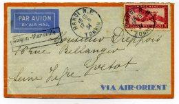 """Lettre PAR AVION """" AIR ORIENT""""  De HANOI  TONKIN à YVETOT Via MARSEILLE /  TP Poste Aérienne Indochine / 1934 - Storia Postale"""