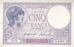 Billet 5 F Violet Du 13-11-1918 FAY 3.2 Alph. S.4450 P/SPL Sans épinglage - 5 F 1917-1940 ''Violet''