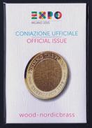 """2015 ITALIA """"EXPO MILANO 2015 - MEDAGLIA UFFICIALE LEGNO / NORDICBRASS"""" FOLDER - Altri"""