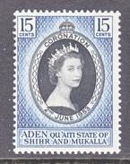 ADEN  QUAITTI STATE OF SHIHR & MUKALLA   28  *   QE II  CORONATION  1953 - Aden (1854-1963)