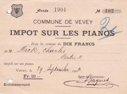 Commune De Vevey, Impôt Sur Les Pianos De L'année 1904 - Suisse