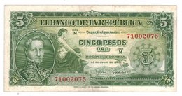 Colombia 5 Pesos 1960, VF+. Free Ship. To USA. - Colombia