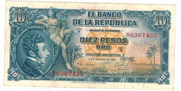 Colombia 10 Pesos 1961, VF+. Free Ship. To USA. - Colombia
