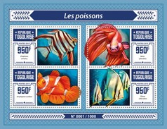 TOGO 2015 SHEET FISHES POISSONS PEIXES PECES MARINE LIFE Tg15609a - Togo (1960-...)