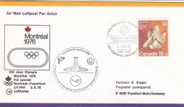 Canada Flight Cover Montreal Olympic Summer Games - Special Flight Montreal-Frankfurt Lufthansa  (T16-29)