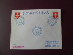 """Lettre """"imprimés"""" Session Ministérielle OTAN Paris 21/12/1959 Avec Le N° 1186 X 2 + Cachets  TB"""