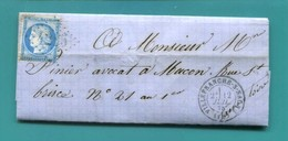M19  CERES 60 BLEU 25 C TAD VILLEFRANCHE SUR SAONE 12 JUILLET 1875 LOSANGE GC 4245 + TAD MACON - Postmark Collection (Covers)