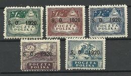 POLEN Poland 1920 Michel 6 - 10 Ostschlesien Teschen * - Postage Due
