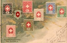 (27) CPA  Timbres Die Alten Telegraphenmarken Der Schweiz 1902 (bon Etat) - Timbres (représentations)