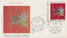 Enveloppe  1er  Jour   REUNION   Oeuvre  De  MATHIEU    SAINT  DENIS    1974