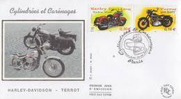 Enveloppe  FDC  1er  Jour    Motos   Cylindrées  Et   Carénages   2002 - Motos