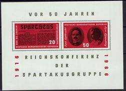 DDR 1966 - MiNr Block 25 (1154-1155) - Spartakusbundes - Karl Liebknecht - Rosa Luxemburg - Blocs