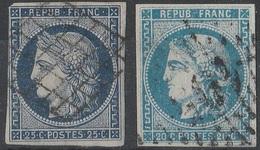 17643# CERES N° 4 Oblitéré GRILLE Déféctueux + CERES BORDEAUX N° 46 II Type III Report 2 TTB - 1870 Emisión De Bordeaux