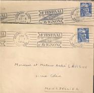 Festival D'Avignon : 2 Lettres Du 9 Eme. - Postmark Collection (Covers)