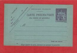 Entier Postal -Carte Lettre Pneumatique - Chaplain 60 Centimes Violet
