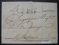 1813 Marque 31/ GIMONT Sur Une Lettre Pour Toulouse - Marcophilie (Lettres)