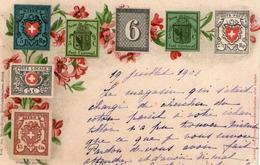 (27) CPA  Timbres Suisse  1901  (bon Etat) - Timbres (représentations)