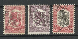 FINLAND FINNLAND 1918 Michel 96 & 98 & 101 Coat Of Arms O