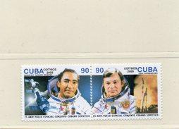 CUBA / 25 ANS SOYOUZ 38 Espace Série 2 Valeurs Dentelées Neuves MNH Se Tenant Cote 5.00 Vente 2.00 Euros - Space