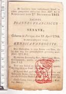 DP Joannes Franciscus Senave ° Pervyse Pervijze Diksmuide 1764 † Nieuwpoort 1842 X Henrica VanHoutte Van Houtte - Images Religieuses