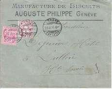 TYPE CHIFFRE SUR LETTRE - LOGO PRIVE - AUGUSTE PHILIPPE - GENEVE - FABRIQUE DE BISCUITS - 1895 - 1882-1906 Coat Of Arms, Standing Helvetia & UPU