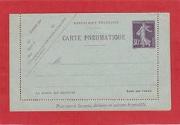 Entier Postal - Carte Pneumatique - Semeuse Violet 30 Centimes