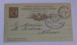 1886 INTERO POSTALE X ESTERO FRANCIA DA TORINO A MODANE  (439) - 1878-00 Umberto I
