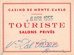 "05870 ""CASINO DE MONTE CARLO - TOURISTE - SALONS PRIVES N. 015930"" TESSERA - Cartoncini Da Visita"