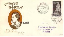 Fdc Universal Editrice Roma: BYRON 1959; Viaggiata; AS_Roma - F.D.C.