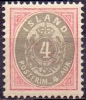 IJSLAND 1876-1901 4aur Grijsrood Tanding 13¾ PF-MNH - Neufs