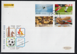 K 01 ) Germany 2008 Beautiful Large FDC  - Chess, Soccer, Olympic Games  // Free Shipping To - Summer 2008: Beijing