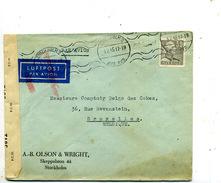 Suède Pli De Stockholm Pour La Belgique 1945 Censuré