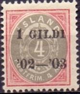IJSLAND 1902 4aur Grijsrood Met Opdruk I GILDI Tanding 12¾ PF-MNH - Neufs