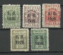 POLEN Poland 1920 Michel 1 - 5 Porto Postage Due Doplata Ostschlesien * - Postage Due