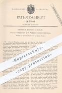 Original Patent - Heinrich Kather In Berlin , 1884 , Zigarrenkasten Zur Präsentation | Zigarre , Rauchen , Tabak !!! - Manuskripte