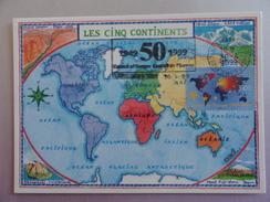 CARTE MAXIMUM CARD STRASBOURG CONSEIL DE L'EUROPE LES 5 CONTINENTS AVEC FLAMME - 1980-89