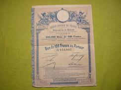 Une Action Crédit Foncier De France 1887 Emprunt 100 Francs Au Porteur - Banque & Assurance