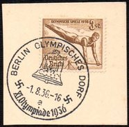 GERMANY BERLIN OLYMPISCHES DORF 1/08/1936 - OLYMPIC GAMES BERLIN 1936 - FRAGMENT - GYMNASTICS STAMP