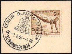 GERMANY BERLIN OLYMPIA-STADION 1/08/1936 - OLYMPIC GAMES BERLIN 1936 - FRAGMENT - GYMNASTICS STAMP