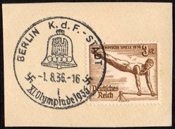 GERMANY BERLIN K.d.F. - STADT 1/08/1936 - OLYMPIC GAMES BERLIN 1936 - FRAGMENT - GYMNASTICS STAMP