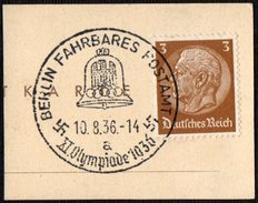 GERMANY BERLIN FAHRBARES POSTAMT 10/08/1936 - OLYMPIC GAMES BERLIN 1936 - FRAGMENT