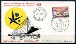 BE  Marcophilie  --  Obl. Mécanique / Machine   ---  EXPO 58  --   Bureau : Bruxelles-Exposition  1 -  FDC