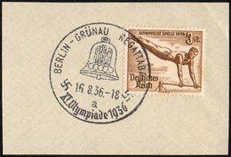 GERMANY BERLIN GRUNAU REGATTABAHN 16/08/1936 - OLYMPIC GAMES BERLIN 1936 - FRAGMENT - GYMNASTICS STAMP - Verano 1936: Berlin