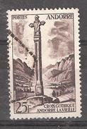 ANDORRE, 1955, Yvert N° 149, 25 F Sépia Croix Gothique, Andorre La Vieille , Obl, TB