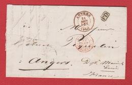 Lettre  / De Anvers / Pour Angers / 22 Août 1857 / Abimée - Marcophilie